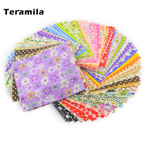Teramila Cloth 50Pieces 10cmx10cm Fabric Stash Cotton Charm Packs Telas Patchwork Algodon Quilting No Repeat Design Tissus