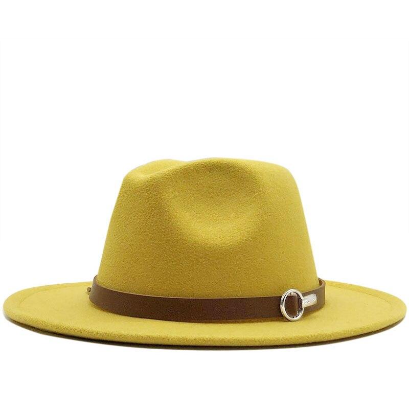 Black White Fedora Hats For Women Imitation Wool Fedoras Panama Felt Hat Winter Men Jazz Hats Trilby Chapeau Femme Caps