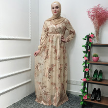 Fashion Muslim Abaya Dress Metal Color High End Lace Hot Stamp Dubai Robe Arab Islam Elegant Party Dress Fall 2019(China)