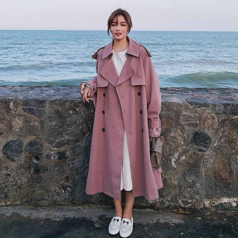 Fashion Pink Khaki Women Trench Coat Double-Breasted Long Belted Windbreaker With Flaps Spring Autumn Cloak Outerwear