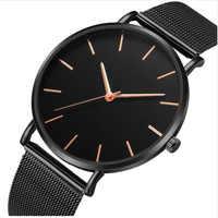 Montre à Quartz noir femmes maille acier inoxydable Bracelet décontracté Montre-Bracelet pour Femme chaude Montre Femme moderne mode Reloj Mujer