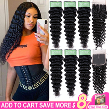 Aircabin Remy Deep Wave Double Weft Bundles With Closure Brazilian Human Hair Natural Color Bundles And 4x4 Swiss Lace Closure