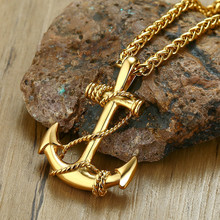 MINCN pirate anchor necklace decoration mens pendant gold and silver stainless steel jewelry