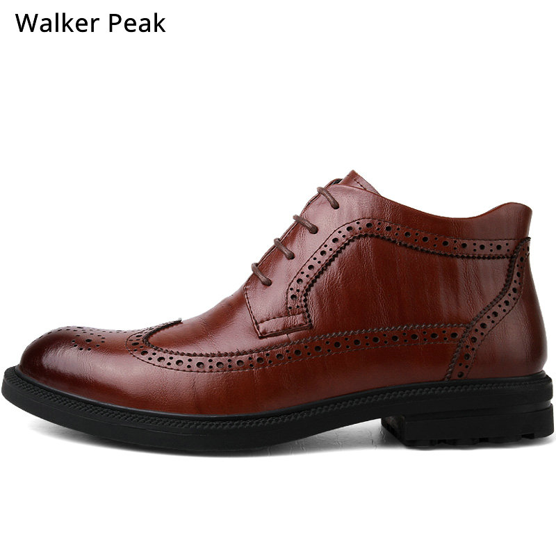 Genuine Leather Men Boots Winter Ankle Boots Fashion Footwear Lace Up Brogue Dress Shoes High Quality Vintage Mens Shoes Brand