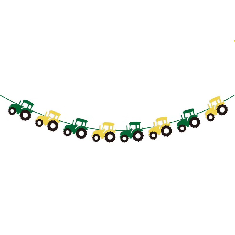 Green Construction Vehicle Happy Birthday Banner Excavator Truck Garland Flags for Farm Birthday Party Decorations Kids Favors in Banners Streamers Confetti from Home Garden