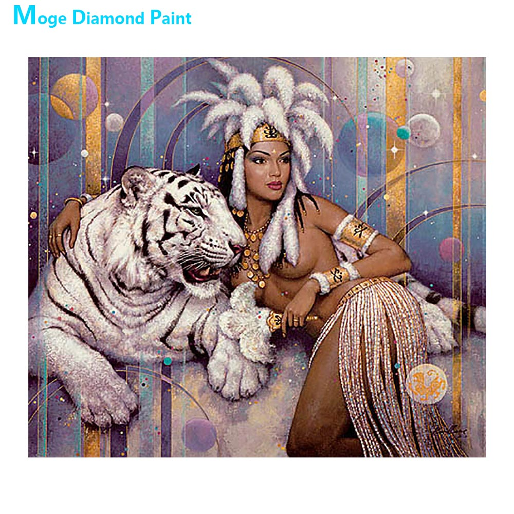 beauty beast Moge Diamond Painting Full Round tige animal portrait New DIY Toy sticking drill cross embroidery 5D ethnic customs
