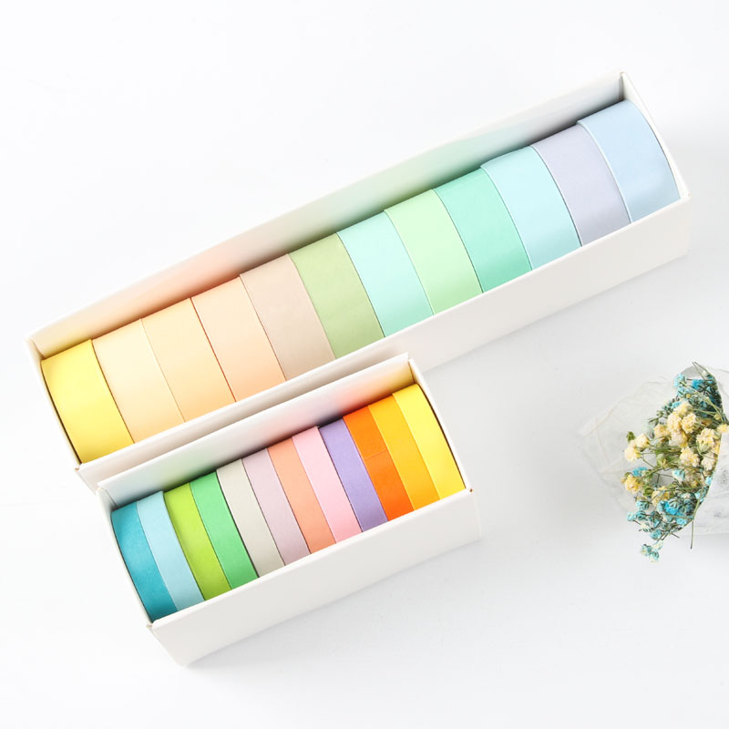 12pcs Candy Pastel Color Paper Washi Tape Set 7.5mm 15mm Adhesive Masking Tapes Decoration Stickers For Album Journal DIY A6362