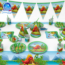 birthday party decorations kids green white cartoon dinosaurs Disposable tableware little mermaid supplies день рождения