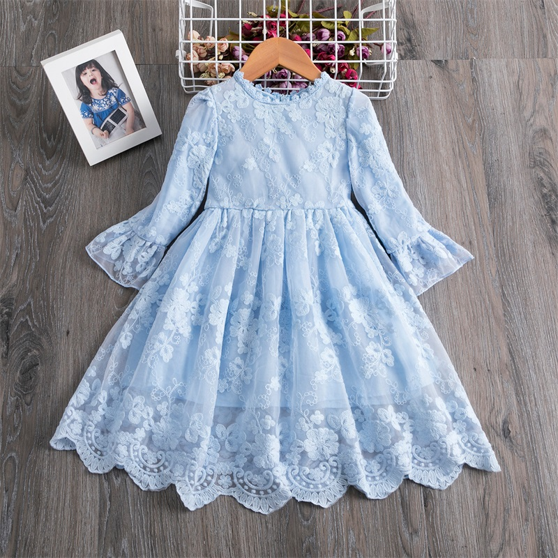 New Arrival Petal Sleeve Girls Spring Summer Dress Flower Wedding Dresses Solid Children Party Costumes Kids Baby Clothing 3 7Y 2