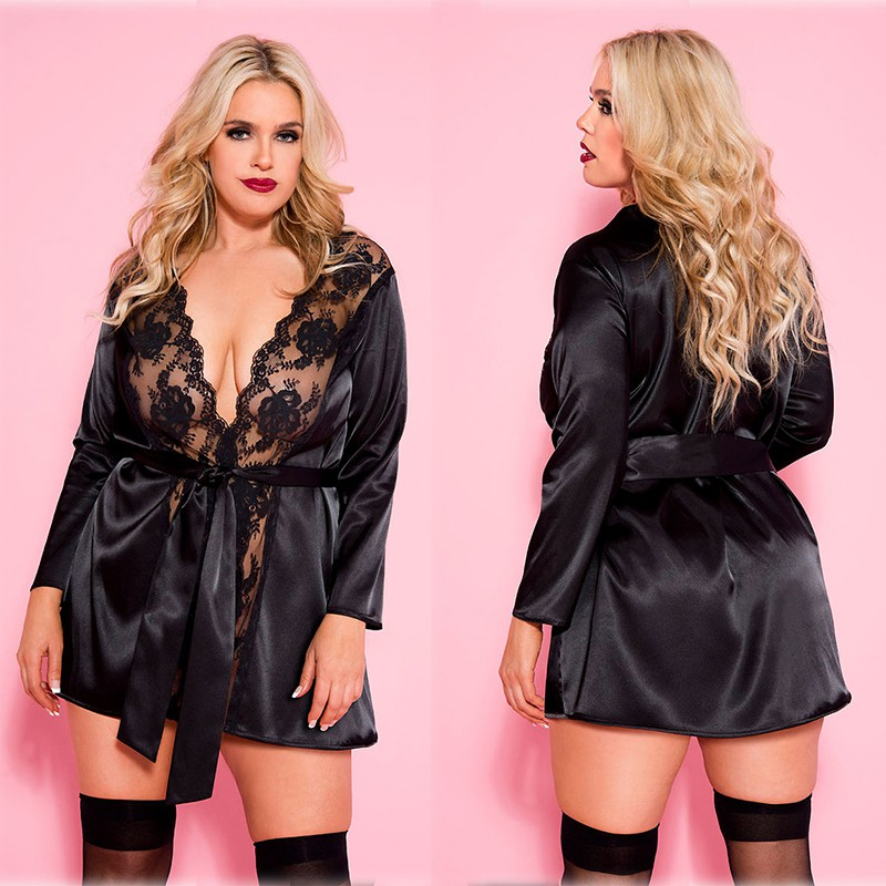 Women Lace Sexy Nightdress Plus Size Bathrobe Sexy Hollow Imitation Ice Silk Big Size Nightgown Summer Thin Sleepwear EU America