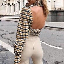Articat sexy sem costas gola alta xadrez impresso camisas femininas manga longa elegante rendas até blusa feminina moda verão streetwear