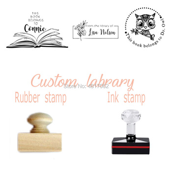 From the library of - This Book Belongs to - Custom Name Stamp -ink Stamp - Teacher stamp - Classroom stamp ,Custom Rubber фото