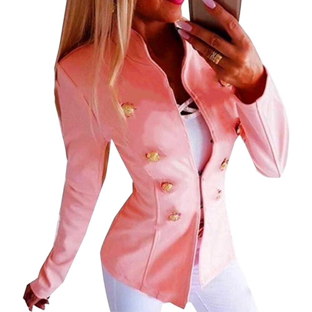 CYSINCOS винтажный Женский приталенный Блейзер умная повседневная куртка 2019 Новое двубортное пальто Офисная Женская куртка в готическом стиле плюс размер 5XL