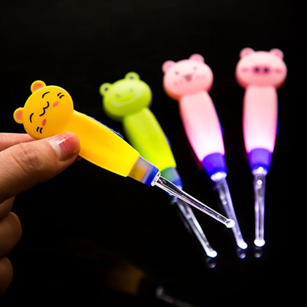 Conjunto de 3 peças de lâmpadas de led, para bebê, colher de ouvido, ferramentas de limpeza de ouvido, palito removedor de cera orelhas para crianças