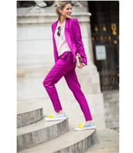 Purple Professional  Women Suit Spring Autumn Slim Single Breasted Lady Set 2 Piece Set Suit Women's Pantsuit Customi Made
