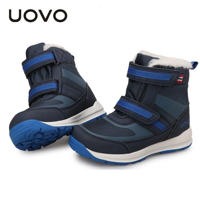Bottines résistantes à l'eau pour garçons marque Uovo chaussures décontractées haut de gamme enfants doublure en peluche anti-dérapant hiver randonnée Botas taille 30-37