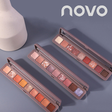 Novo 9 Colors Glitter Sparkly Eye Shadow Palette Pigmented Shimmer Matte Red Eye