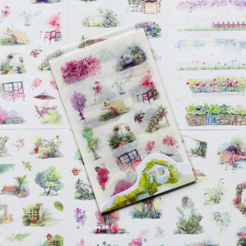 6 Sheets/Pack Cute Dreaming Garden Adhesive Stickers Decorative Album Diary Stick Label Kids Gift Paper Hand Account Decor