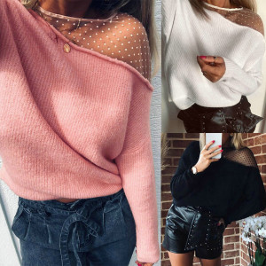 Women's Long Sleeve Lace Off Shoulder Hollow Out Top Loose Blouse Sexy Women Boho Beach Autumn Solid Basic Pullovers Jerseys