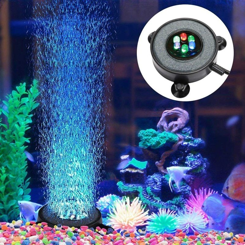 Led Aquarium Air Bubble Light Fish Tank Air Curtain Bubble Stone Disk with 6 Color Changing Leds