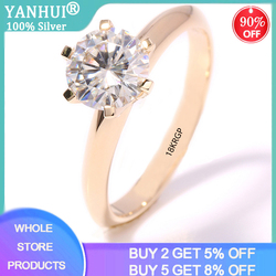 YANHUI prawdziwe 925 lite srebro 18K różowe złoto kolorowe pierścienie dla pani błyszczące 2Ct Lab diamentowe wesele rocznica Eternal Fine Jewelry