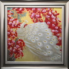 The White Peacock in Red Flowers Oil Painting on Canvas Hand Painted