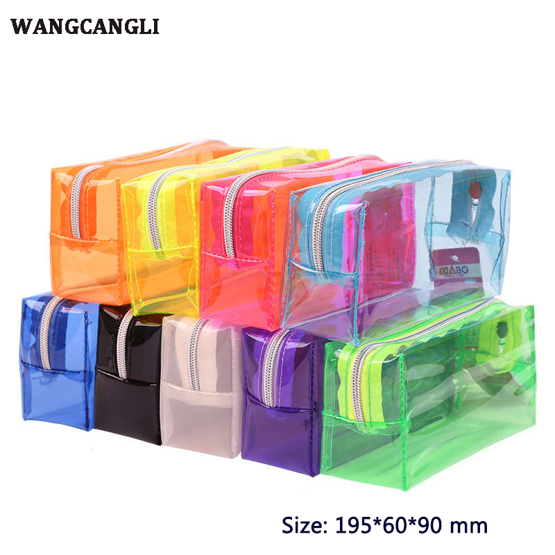 Cute pencil case transparent plastic box storage box pencil bag new gift stationery bag large pencil bag school supplies