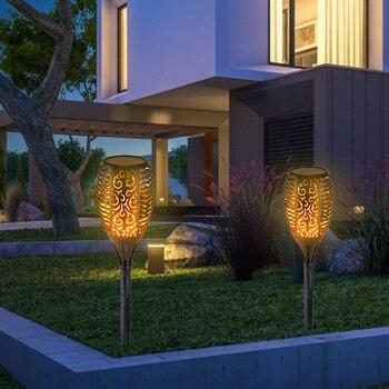 Outdoor Garden Solar Flame Light Waterproof LED Torch Lamp Yard Decoration