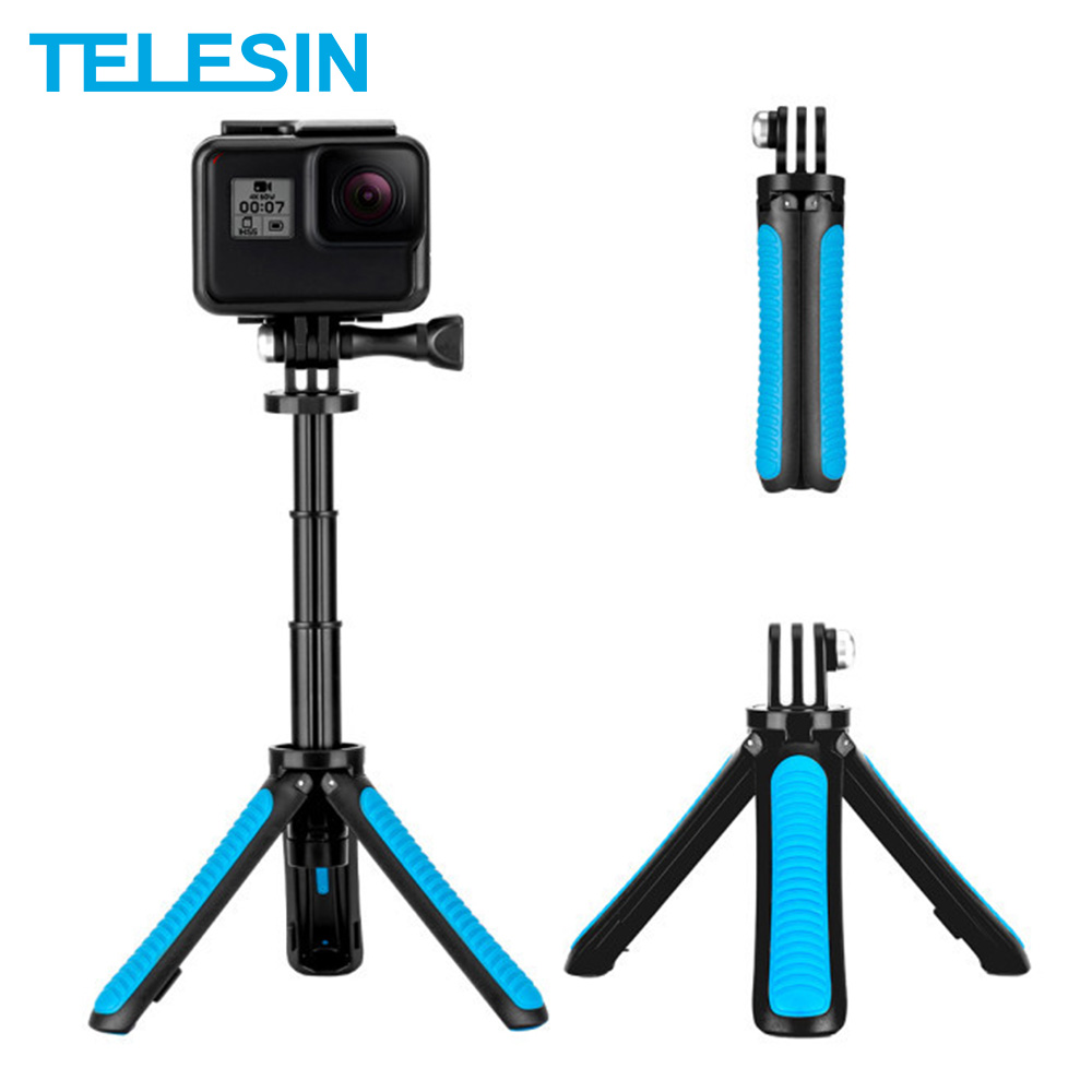 TELESIN Mini Hand Selfie Stick Tripod For GoPro Hero 5 6 7 8 For DJI Osmo Action Xiaoyi SJACAM Camera Accessories