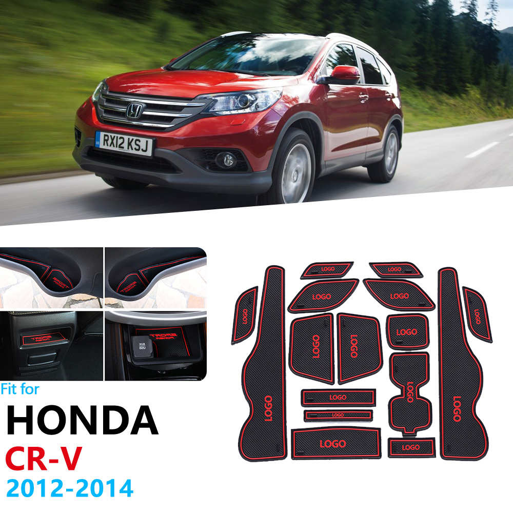 Anti-Slip Rubber Gate Slot Cup Mat For Honda CR-V CRV 2012 2013 2014 4th Gen facelift CR V Door Groove Mat Stickers Accessories