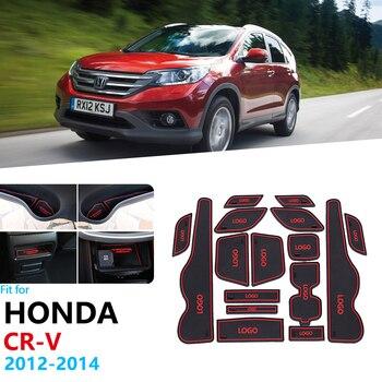 Tapete de goma antideslizante para ranura de puerta para Honda CRV CR-V 2012 2013 2014 4ª generación, adhesivos faciales CR V, esteras con surcos para puerta, accesorios