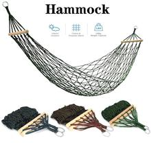 Single and Double Hammock Portable Nylon Rope Mesh Hammock Net Sleeping Bed For Outdoor Patio Porch Garden Travel Camping