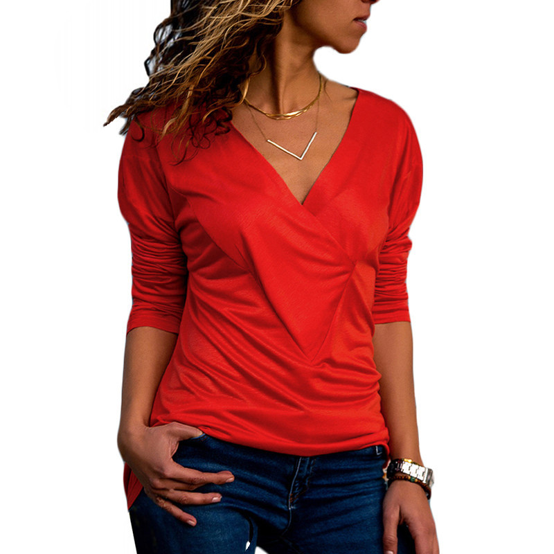 Blouse Women Cotton Top 2020 Casual Long Sleeve Shirt Fashion V Neck Solid Blouse Elegant Office Tops Tee Female Plus Size Shirt
