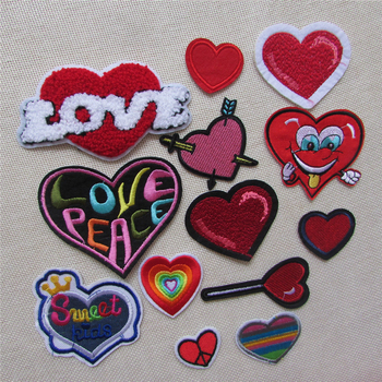 Fashion Cartoon Heart Patch Hot Melt Adhesive Children Applique Embroidery Patches Stripes DIY Clothing Decorate Accessory patch image