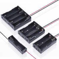 Caja de almacenamiento de batería de plástico negro, 1x2x3x4x18650, 1, 2, 3 y 4 ranuras, contenedor con Clip para baterías, alfiler de plomo