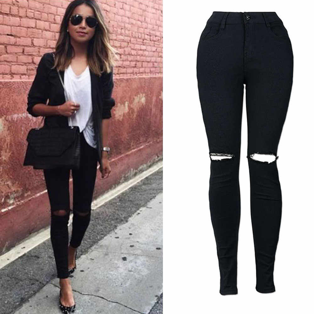 Women's Sexy Jeans for Women Mom High Waist Knee Hole Pocket Zip Button Button Slim Jeans Fashion Casual Korean Street Jeans #B