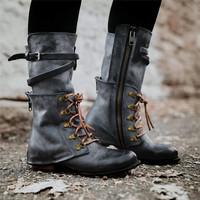 Novelty Women Motorcycle boots Side Zip Women's leather boots Square Heel Rivets Middle Tube Zipper Knight laced women's boots