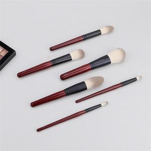 Image 2 - Японский бренд + SP темно красный 6 шт набор кистей для макияжа, Мягкая косметическая кисть для пудры, аксессуары для инструментов