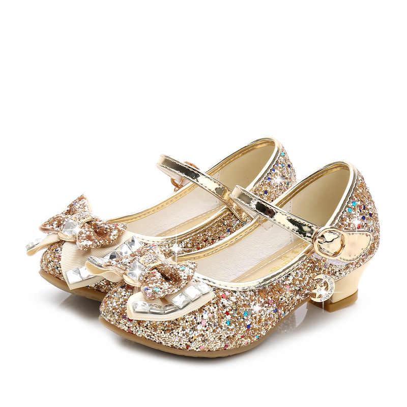 נסיכת נעלי עור ילדים עבור בנות פרח מזדמן נצנצים ילדי גבוהה העקב 2020 בנות נעלי פרפר קשר כחול ורוד כסף