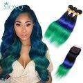MQYQ TB/Blue/Green Hair Brazilian Straight Hair 3 Bundles Ombre Human Hair Weave With 4*4 Lace Closure 100% Human Remy Hair
