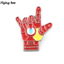 Flyingbee Love your three thousand hands of iron man Brooch and Pin Enamel Pins Badges Lapel Brooches for Friends X0431