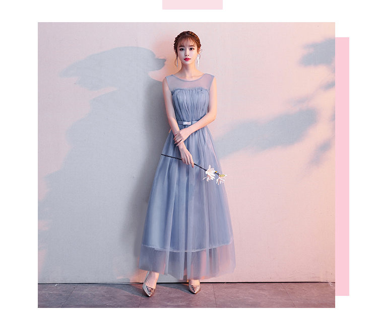 Plus Size Junior For Wedding Guest Sexy Sister Party Bule Gray Burgundy Bridesmaid Dresses Elegant Tulle Long Prom Dress Simple