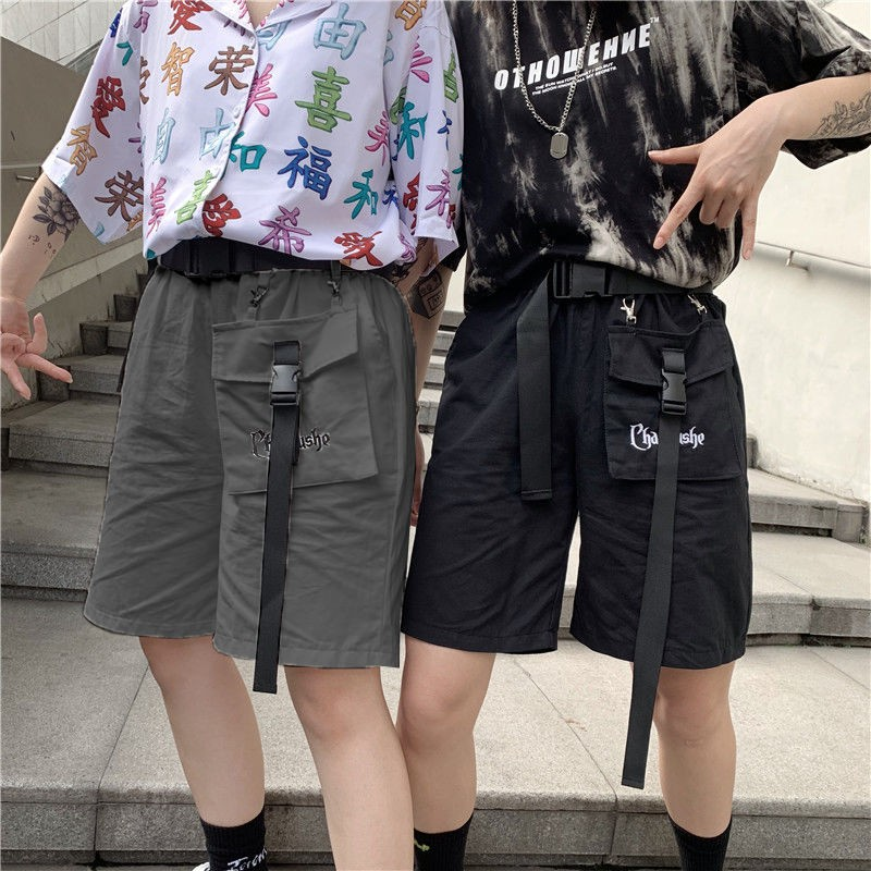 Harajuku 2020 Vintage Big Pocket Letter Embroidery High Waist Cargo Shorts Casual Belt Knee Length Pants Women Summer Streetwear