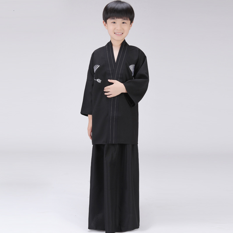 Children Japanese Style Fashion Asian Cosplay Costumes Kids Kimono Traditional Cardigan Samurai Outfits Boy Yukata Clothing Sets