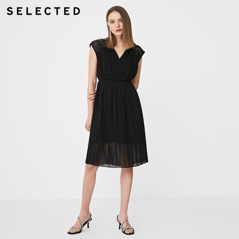 SELECTED Summer Slim Fit Lace Cut-outs Pleated Dress S 41922J550