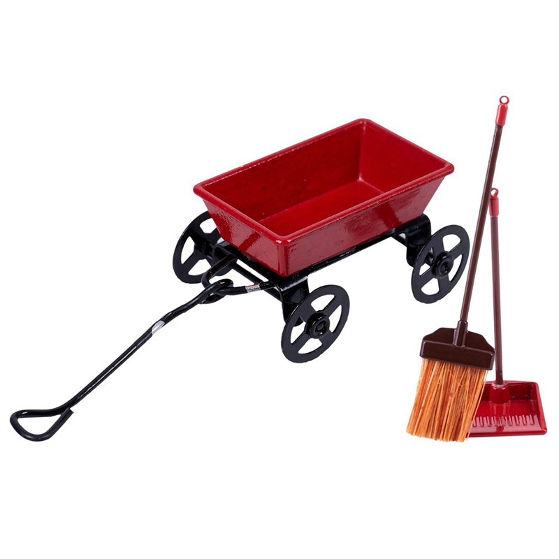 Large Red Metal Wagon 1:12 Scale Dollhouse Miniature