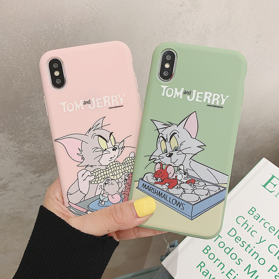 Cute Phone Case for iPhone 11 Pro XR X XS Max Cartoon Lovely Tom Jerry Silicone Case for iPhone 6 7 8 6S Plus SE 5S 5 Cover
