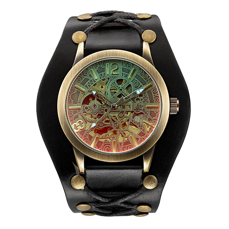 Man Watch Fashion Vintage Bronze Skeleton Mechanical Watches Men Waterproof Mechanical Automatic Watches Men Relogio Masculino