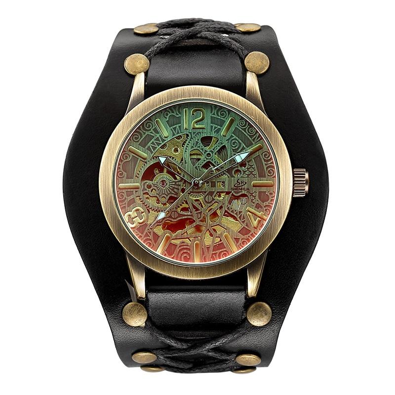 Man Watch Fashion Vintage Bronze Skeleton Mechanical Watches Men Waterproof Mechanical Automatic Watches Men Relogio Masculino