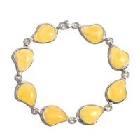 Amber Yellow Waxy Heart Bracelet S925 Silver Jewelry B005